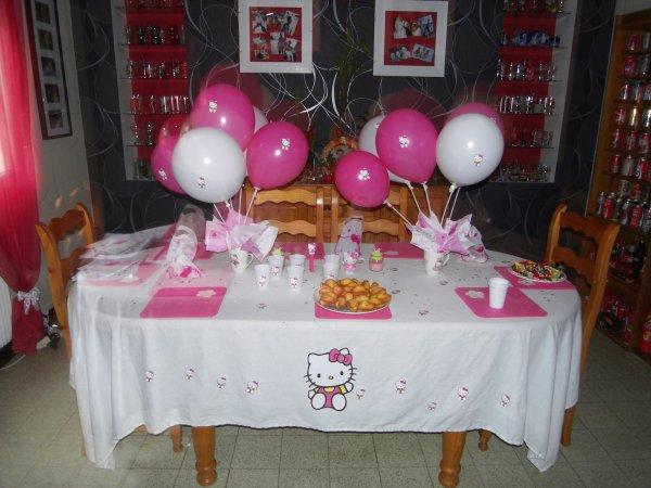 Table d 39 anniversaire hello kitty pour l 39 anniversaire de ma fille - Table d anniversaire ...
